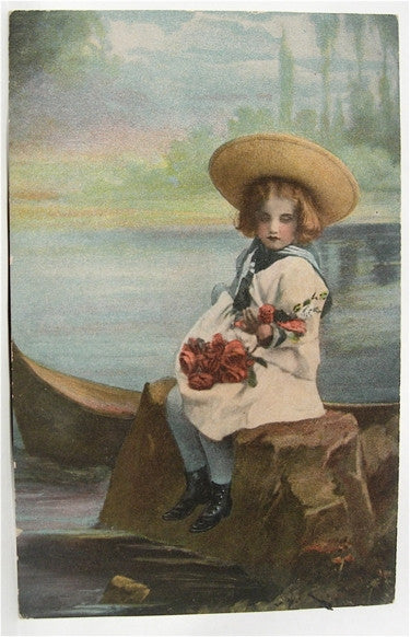 Pretty old card with girl in sailor suit