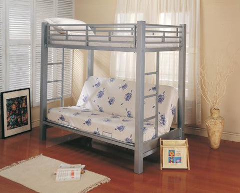 Grey Metal Futon Twin Over Full Bunk Bed With Mattresses