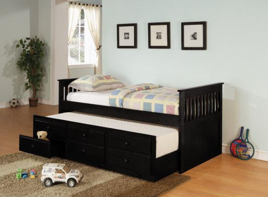 Twin Captains bed with trundle, storage, &mattresses 4 finish options