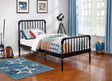 Jones twin bed with mattress available in black or white finish