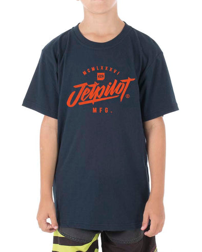 JETPILOT SCRIPTED YOUTH TEE NAVY