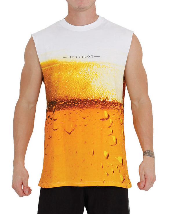 JETPILOT BEER MENS MUSCLE WHITE