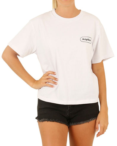JETPILOT SLOGAN GROUPIE LADIES TEE WHITE