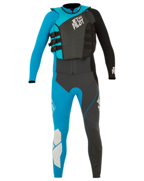 JETPILOT MENS MATRIX PRO RACE SUIT AND VEST BLACK/BLUE