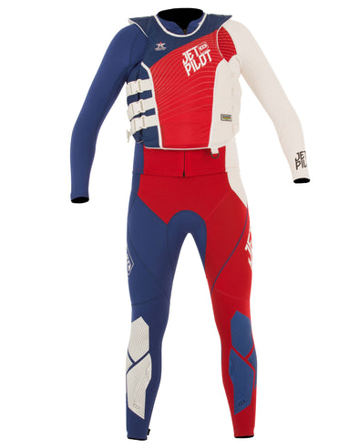JETPILOT MENS MATRIX PRO RACE SUIT AND VEST RED/BLUE