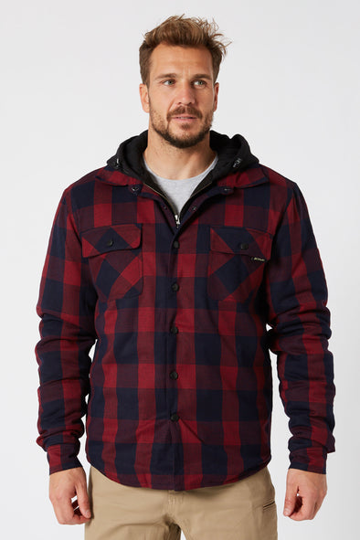 JETPILOT QUILTED MENS FLANNEL JACKET RED