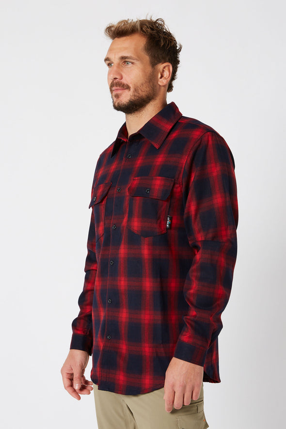 JETPILOT JP MENS FLANNEL SHIRT RED