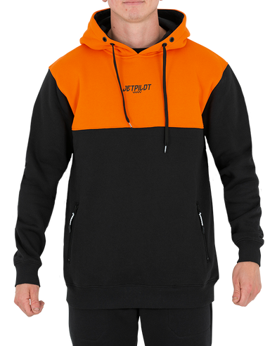 JETPILOT LEVELED MENS PULLOVER HOODIE BLACK/ORANGE
