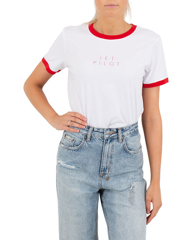 JETPILOT FINE LINE LADIES TEE WHITE/RED