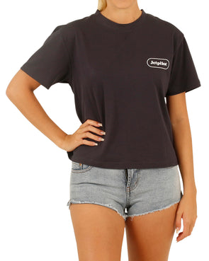 JETPILOT SLOGAN GROUPIE LADIES TEE BLACK