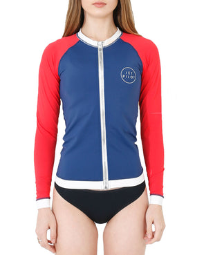 JETPILOT PRO SERIES LADIES L/S RASHIE NAVY/RED