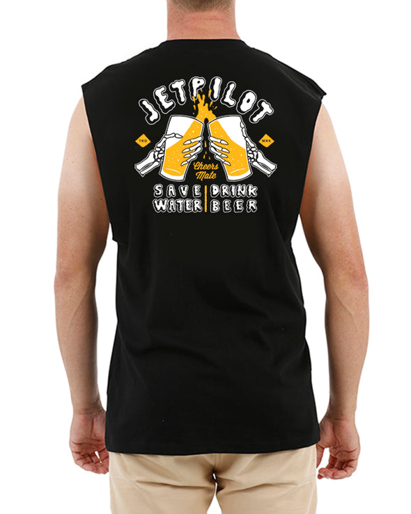 JETPILOT SAVE WATER MENS MUSCLE BLACK