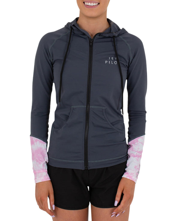 JETPILOT TIE DYE LADIES HOODED RASHIE CHARCOAL