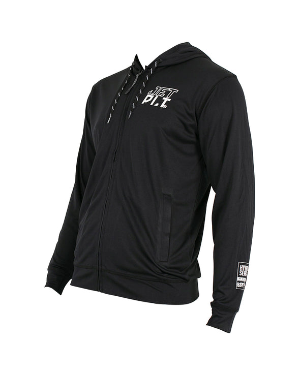 JETPILOT MENS HYPED L/S ZF HOODED RASHIE BLACK