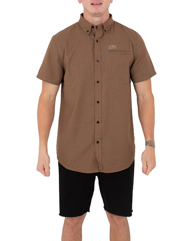 JETPILOT BUTTON UP MENS S/S SHIRT CHOCOLATE