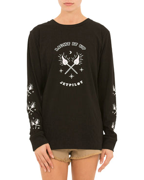 JETPILOT LIGHT IT UP LADIES L/S TEE BLACK