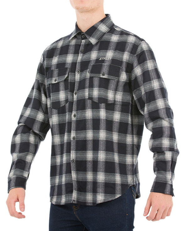JETPILOT ALL DAY MENS FLANNO SHIRT BLACK/WHITE