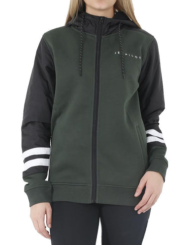 JETPILOT CORP HYBRID LADIES ZIP HOODIE BLACK/GREEN