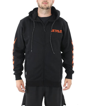 JETPILOT FLAGGED MENS HOODIE BLACK/ORANGE