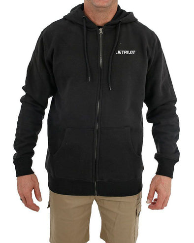 JETPILOT ESSENTIAL MENS ZIP THRU HOODIE BLACK