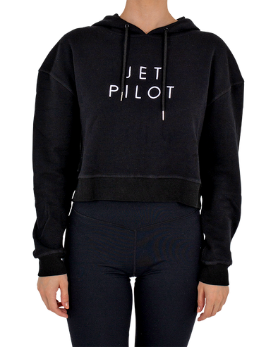 JETPILOT SIMPLE LADIES CROP HOODIE BLACK