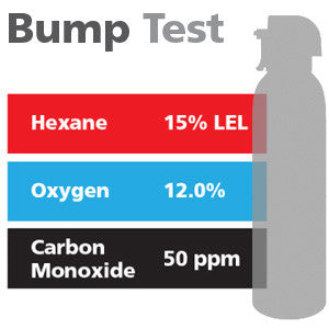 Gasco Multi-Gas Bump Test 331: 15% LEL Hexane, 12% Oxygen, 50 ppm Carbon Monoxide, Balance Nitrogen
