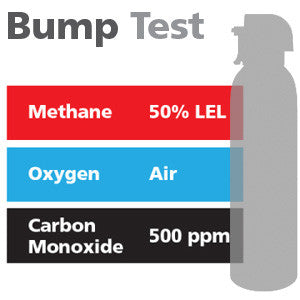 Gasco Multi-Gas Bump Test 338: 50% LEL Methane, 500 ppm Carbon Monoxide, Balance Air
