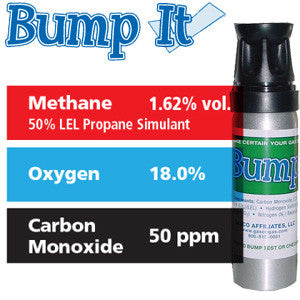 Gasco Multi-Gas Bump-It 303E: 1.62% vol. Methane (50% LEL Propane Equivalent), 18% Oxygen, 50 ppm Carbon Monoxide, Balance Nitrogen