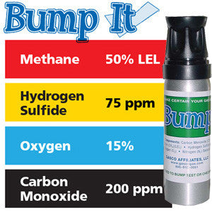 Gasco Multi-Gas Bump-It Quad Mix: 50% LEL Methane, 15% Oxygen, 200 ppm Carbon Monoxide, 75 ppm Hydrogen Sulfide, Balance Nitrogen