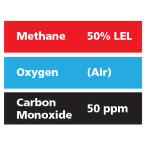Gasco Multi-Gas 301: 50% LEL Methane, 50 ppm Carbon Monoxide, Balance Air