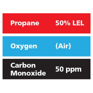 Gasco Multi-Gas 302: 50% LEL Propane, 50 ppm Carbon Monoxide, Balance Air