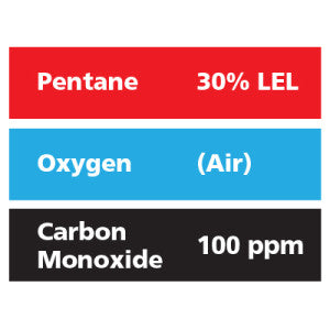 Gasco Multi-Gas 305: 30% LEL Pentane, 100 ppm Carbon Monoxide, Balance Air