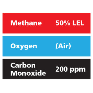 Gasco Multi-Gas 307: 50% LEL Methane, 200 ppm Carbon Monoxide, Balance Air