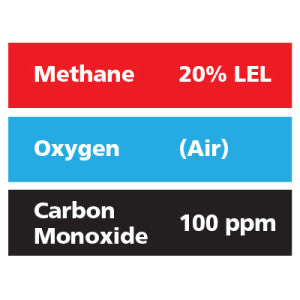 Gasco Multi-Gas 308: 20% LEL Methane, 100 ppm Carbon Monoxide, Balance Air