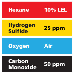 Gasco Multi-Gas 452: 10% LEL Hexane, 50 ppm Carbon Monoxide, 25 ppm Hydrogen Sulfide, Balance Air