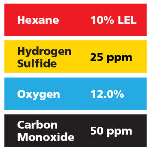 Gasco Multi-Gas 458: 10% LEL Hexane, 12% Oxygen, 50 ppm Carbon Monoxide, 25 ppm Hydrogen Sulfide, Balance Air