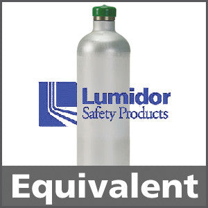 Lumidor GFV243 Calibration Gas: 50% LEL Methane, 20.9% Oxygen, 50 ppm Carbon Monoxide, 25 ppm Hydrogen Sulfide, Balance Air