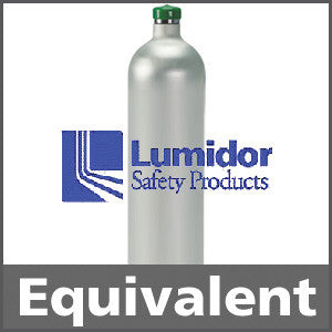 Lumidor GFV207 Calibration Gas: 50% LEL Methane, 20.9% Oxygen, 50 ppm Carbon Monoxide, 25 ppm Hydrogen Sulfide, Balance Air