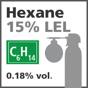 Hexane 15% LEL Bump Test Gas - 0.18% vol. (C6H14)
