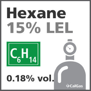 Hexane 15% LEL Calibration Gas - 0.18% vol. (C6H14)