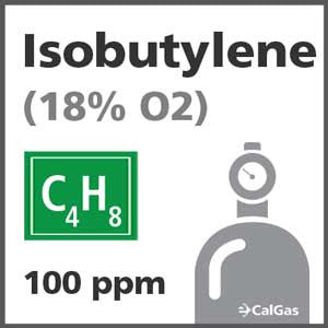 Isobutylene Calibration Gas - 100 PPM (C4H8), 18% O2 in Nitrogen for Biosystems