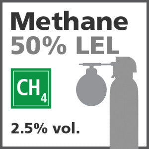 Methane 50% LEL Bump Test Gas - 2.5% vol. (CH4)