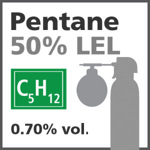 Pentane 50% LEL* Bump Test Gas - 0.70% vol. (C5H12)