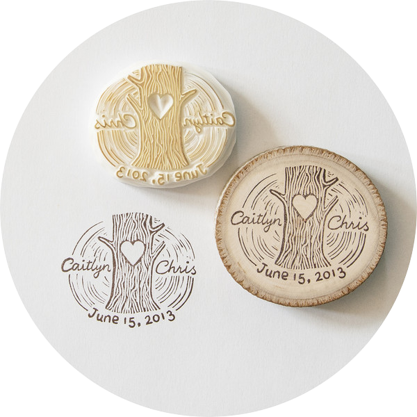 Handmade Wedding Names and Date Stamp
