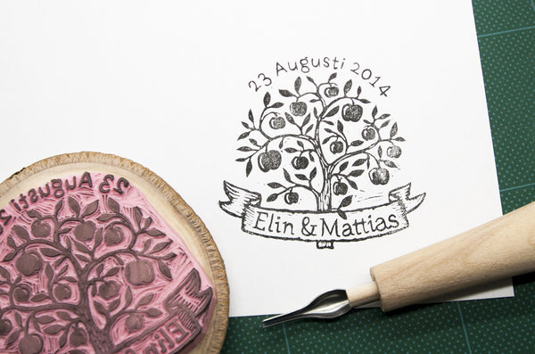 Apple Tree, Custom Wedding Rubber Stamp