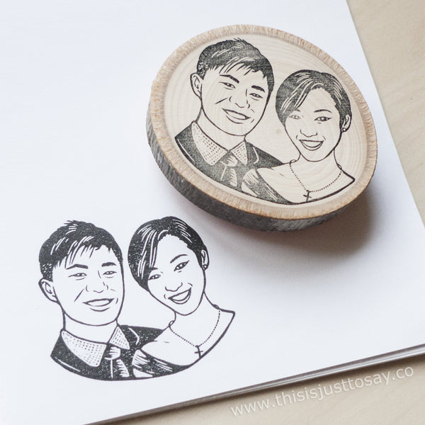 Handmade Custom Couple Portrait Stamp