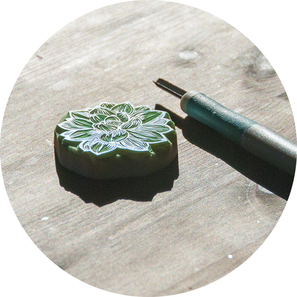 Succulent Plant, Hand Carved Rubber Stamp
