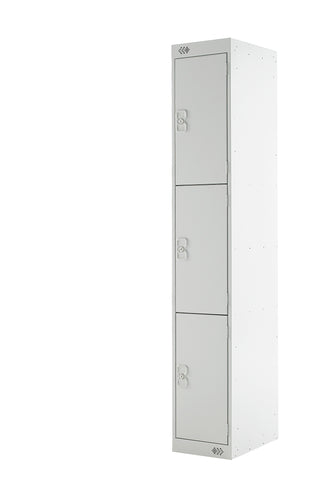 Three Door Locker - Quick Delivery - Light Grey Doors
