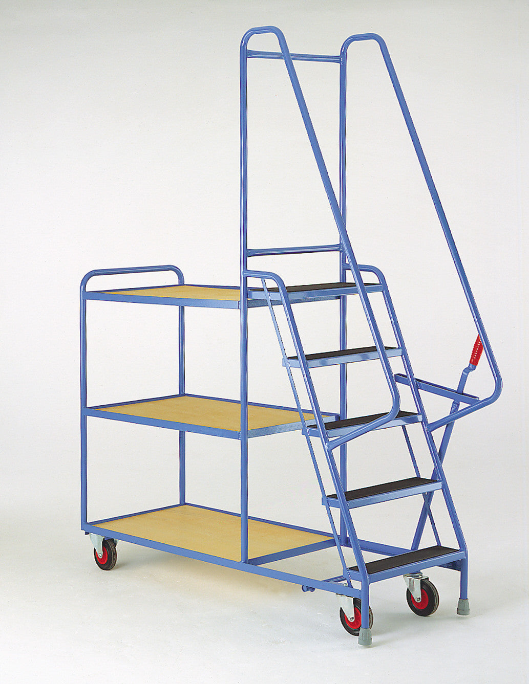 5 Step Tray Trolley - Fixed Ply-Wood Shelves Heavy Duty