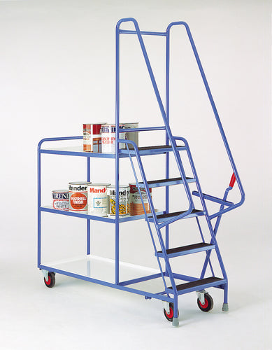 5 Step Tray Trolley - Reversible White Shelves Heavy Duty